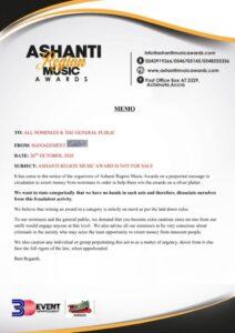 MEMO-ASHANTI REGION MUSIC AWARD IS NOT FOR SALE MEMO IMAGE